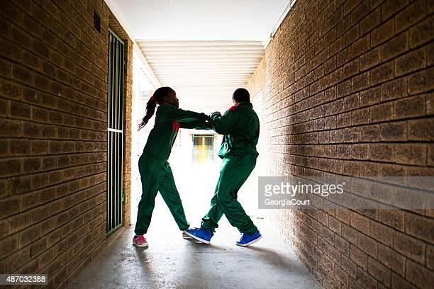 School kids fighting
