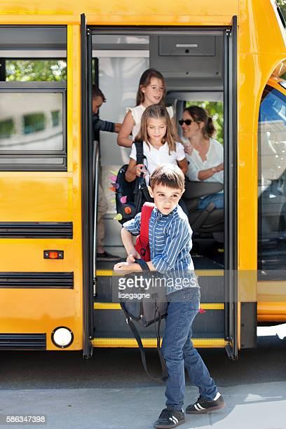 School kids going back to school