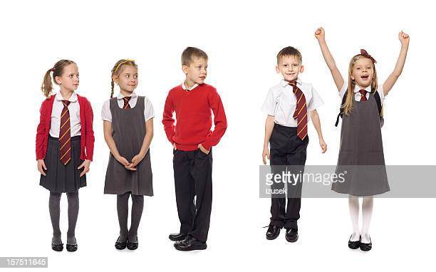 School Kids In A Row, Studio Isolated