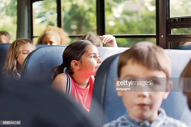 School kids on school bus