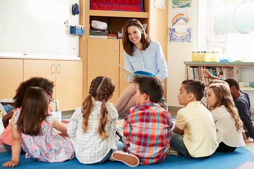 School kids sitting on floor in front of teacher, low angle 1031377970