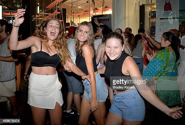 School leavers celebrate during Australian 'schoolies' celebrations following the end of the year 12 exams on November 28 2014 in Gold Coast...
