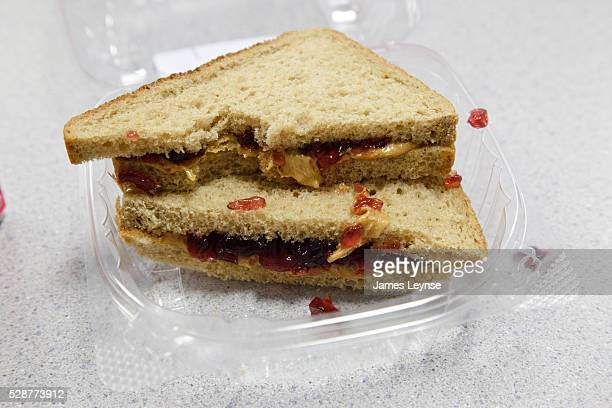 School lunch at a public elementary school in New Jersey: peanut butter and jelly sandwich.