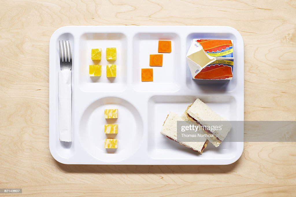 school meal on tray : Stock Photo
