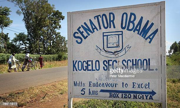 A school named after US Senator Barack Obama is signposted on the main road on January 12 2007 near the village of Kogelo western Kenya Barack...
