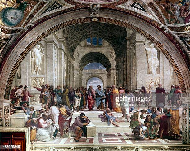 'School of Athens' c1510 Fresco showing Greek philosphers and scientists with Plato and his pupil Aristotle in the centre