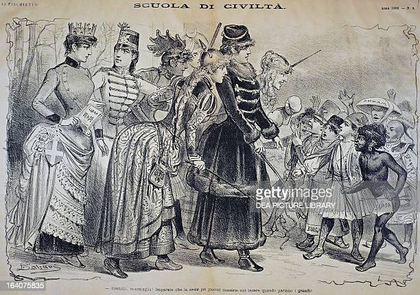 School of civilization satirical cartoon of colonial imperialism from Il Fischietto magazine 26 January 1886 Italy 19th century