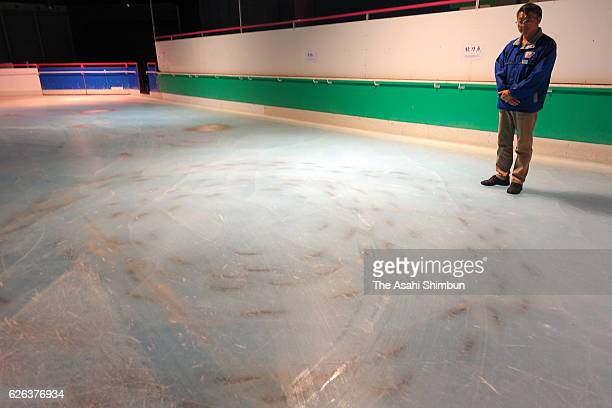A school of dead fish embedded in the skating rink at the Space World amusement park on November 26 2016 in Kitakyushu Fukuoka Japan An amusement...