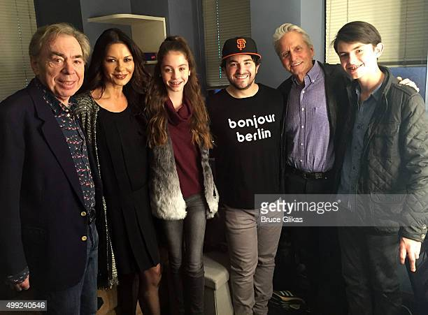 School of Rock composer Sir Andrew Lloyd Webber Catherine Zeta Jones Carys Zeta Douglas Alex Brightman Michael Douglas and Dylan Michael Douglas pose...
