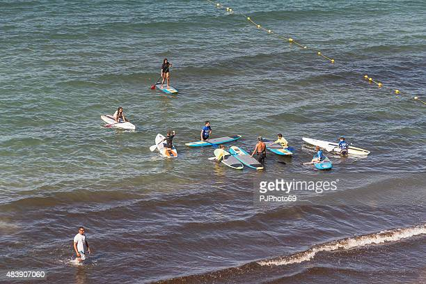 school of surf in sanary sur mer - french riviera - pjphoto69 stock pictures, royalty-free photos & images