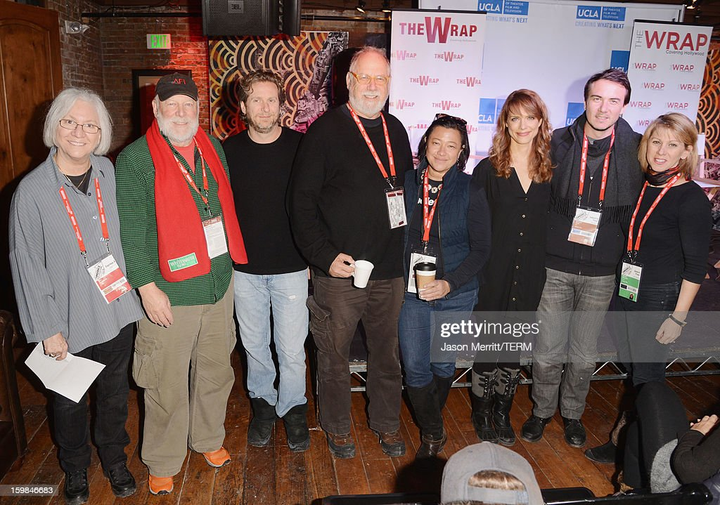 School of TFT Dean Teri Schwartz, director Rick Rosenthal, Maker Studios Chief Development Officer Chris M. Williams, producer Jonathan Dana, IndieFlix co-founder and CEO Scilla Andreen, director Lynn Shelton, Slated co-founder and CEO Duncan Cork and The Wrap founder Sharon Waxman attend UCLA and The Wrap Sundance 2013 Panel at The Claim Jumper on January 21, 2013 in Park City, Utah.