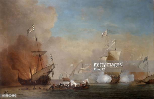 School of Willem van der Velde the Younger Pirates attack an English naval vessel 18th century
