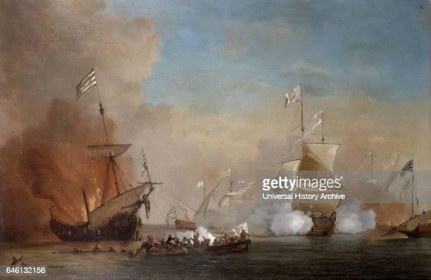 School of William Van der Velde 1663-1707. Pirates attack an English Warship. Oil on Canvas.