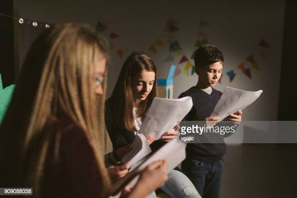 school play rehearsal - actress stock pictures, royalty-free photos & images
