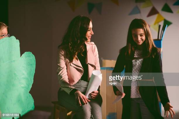 school play rehearsal - amateur theater stock pictures, royalty-free photos & images
