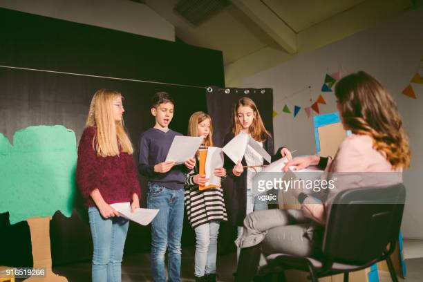 school play rehearsal - rehearsal stock pictures, royalty-free photos & images