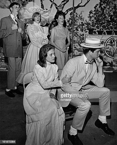 APR 19 1966 APR 27 1966 School Presents Original Musical Julie Ann Pleads with Harry while cast members sing in background in this scene from Welcome...
