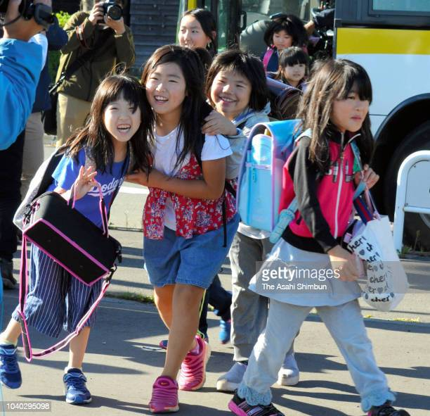 School pupils are seen at Atsuma Chuo Elementary School after the Hokkaido earthquake on September 18 2018 in Atsuma Hokkaido Japan
