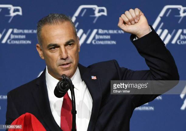 School safety activist Andrew Pollack speaks during the Republican Jewish Coalition's annual leadership meeting at The Venetian Las Vegas ahead of an...
