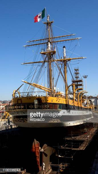 School ship Amerigo Vespucci Naval Shipyard of the Italian Navy La Spezia Ligury Italy Europe