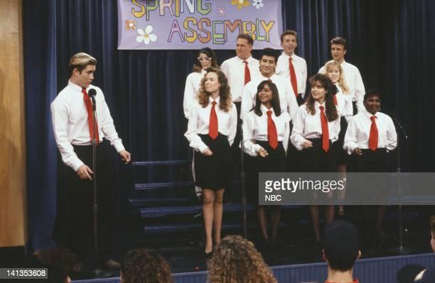 BELL School Song Episode 24 Air Date Pictured MarkPaul Gosselaar as Zack Morris Lara Lyon as Louise Troy Fromin as Ox Mario Lopez as AC Slater Ryan...