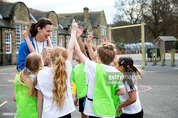 school sports lesson - britain playgrounds stock pictures, royalty-free photos & images