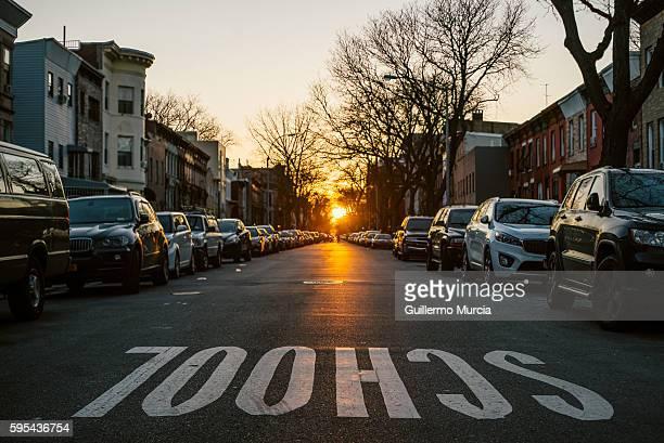 School Street Sign and Brooklynhenge Sunset