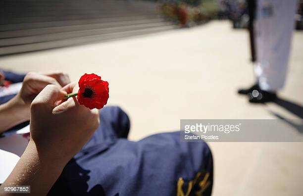 A school student holds a poppy at the 91st Anniversary Remembrance Day Service at the Australian War Memorial on November 11 2009 in Canberra...