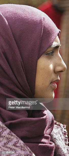 School student Shabina Begum talks to reporters after attending the House of Lords on March 22 2006 in London The House of Lords have overturned a...