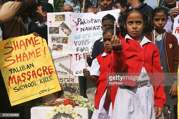 School Students hold candle vigil and South Kolkata Indian National Congress party organized a condemn pray in Kolkata India on December 17 2014 in...