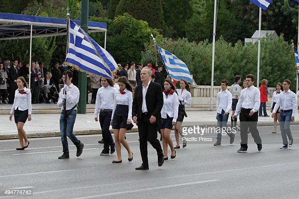 SQUARE ATHENS ATTICA GREECE School students march past the Greek Parliament and the review stands in the 'Oxi Day' parade in Athens School students...
