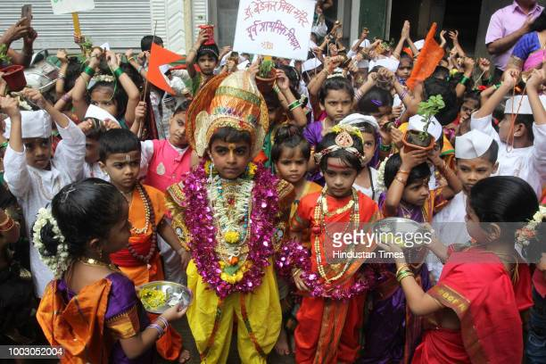 School students of Bedekar School Thane participate in Dindi with song and dance procession on the eve of Marathi festival ASHADI EKADASHI on July 20...