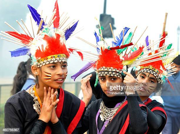 School students participate in cultural program for Republic Day parade rehearsal 2014 at Rajpath on January 5 2014 in New Delhi India Republic Day...