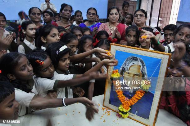 TMC school students pay tribute to Dr APJ Abdul Kalam the former President of India on his 2nd death anniversary at TMC School no 69 Kalwa on July 27...