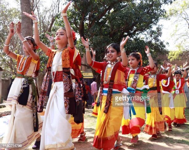 School students performing dance during the celebration of Basanta Bandana to welcome spring ahead of Basanta Utsav