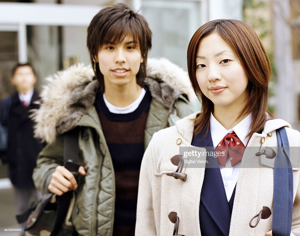 School Students Wearing Coats : Stock Photo