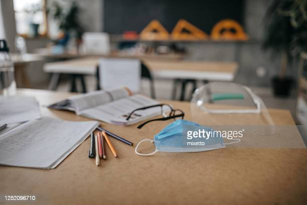 school supplies in time of virus - coronavirus stock pictures, royalty-free photos & images
