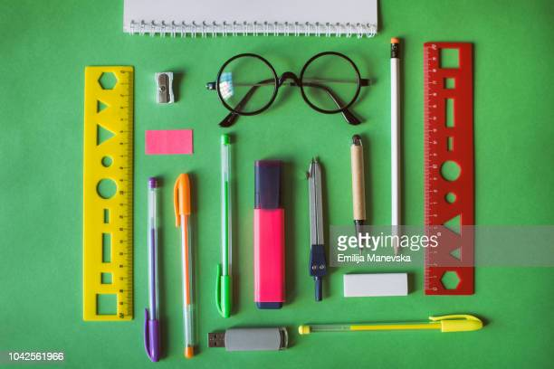 school supplies - ruler stock photos and pictures