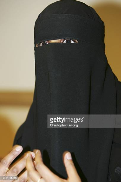 School supply teacher Aishah Azmi speaks to the media during a press conference at The Jury's Inn on October 19 2006 in Leeds England Ms Azmi was...