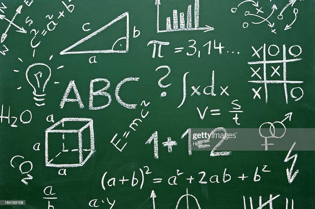 school symbols on a chalkboard : Stock Photo