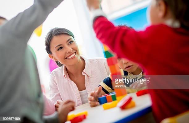 School teacher in class