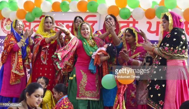 School teachers performing during Republic Day parade at Guru Nanak Stadium on August 26, 2021 in Amritsar, India.