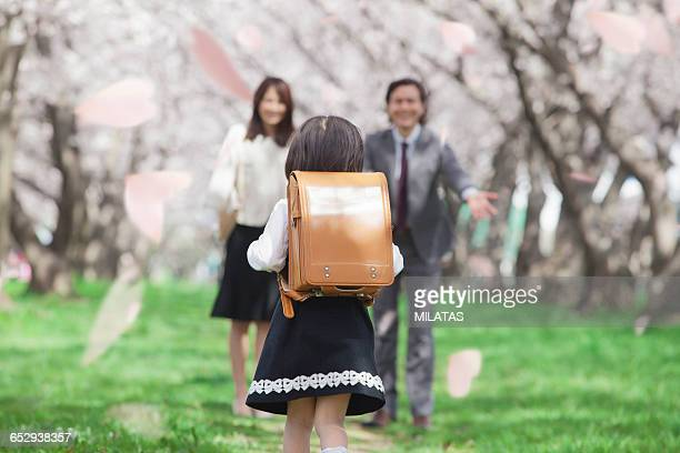 school the first day in japan - hanami stock pictures, royalty-free photos & images
