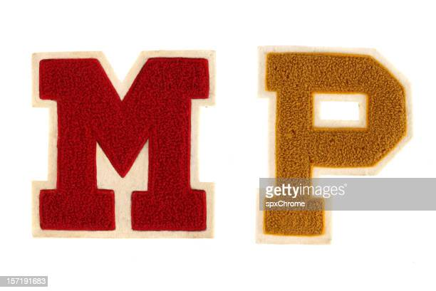 school varsity letters - sporting term stockfoto's en -beelden