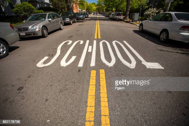 school zone marking on the road - pedestrian crossing sign stock photos and pictures