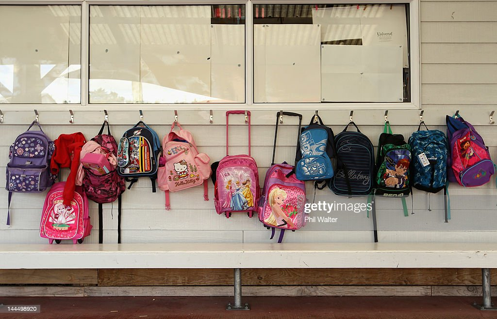 Schoolbags are pictured as New Zealand Prime Minister John Key opens a new classroom block at the Westminister Christian School on May 15, 2012 in Auckland, New Zealand. The Prime Minister is conducting events in Auckland today before heading to Gisborne for appearances tomorrow.