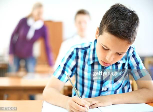 Schoolboy in class.
