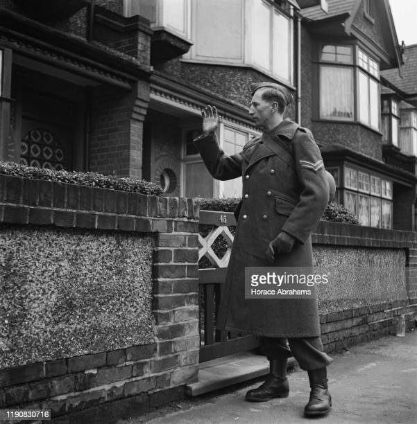 A schoolboy member of the Home Guard doing his rounds during World War II UK March 1941