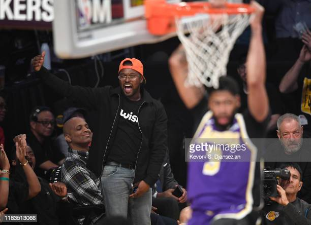 Schoolboy Q attends a basketball game between the Los Angeles Lakers and the Utah Jazz at the at Staples Center on October 25 2019 in Los Angeles...