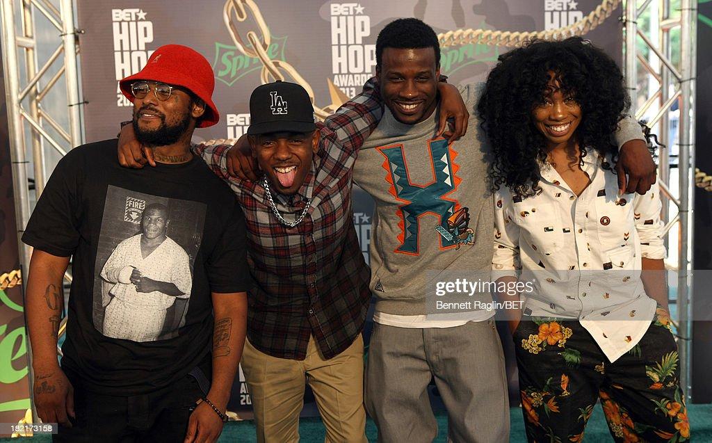 Schoolboy Q, Kendrick Lamar, Jay Rock and guest attend the BET Hip Hop Awards 2013 at Boisfeuillet Jones Atlanta Civic Center on September 28, 2013 in Atlanta, Georgia.